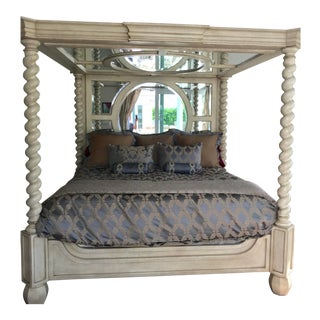 Phyllis Morris Canopy King Bed With Matching Nightstands and Swan Side Table - 4 Pc. Set