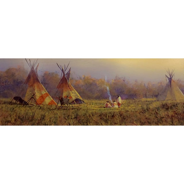 The Hudson River School Mark Geller -Panoramic View of Teepees in an Indian Camp -Oil Painting For Sale - Image 3 of 10