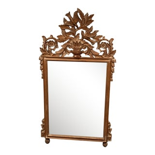 Carved Wood Mirror With Beveled Glass For Sale