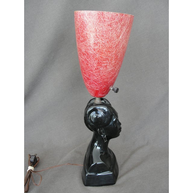 African Princess Black Ceramic Table Lamp For Sale - Image 5 of 8