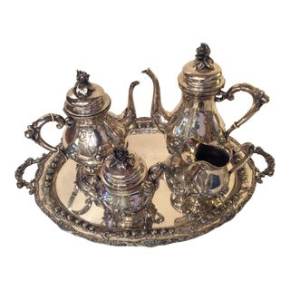 Sterling Silver Handarbeit Coffee and Tea Service For Sale