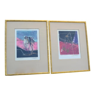 Cecilia Mayr Signed Modern Abstract Contemporary Hand Embellished Monoprints - a Pair For Sale