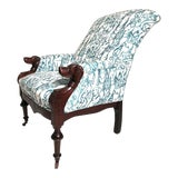 Image of Late 19th Century Victorian Lounge Chair With Carved Dog Head Armrests For Sale