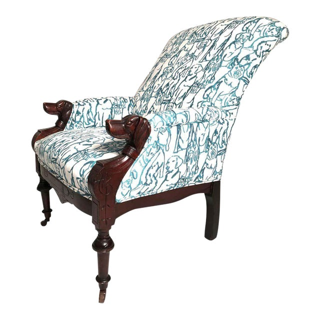 Late 19th Century Victorian Lounge Chair With Carved Dog Head Armrests For Sale