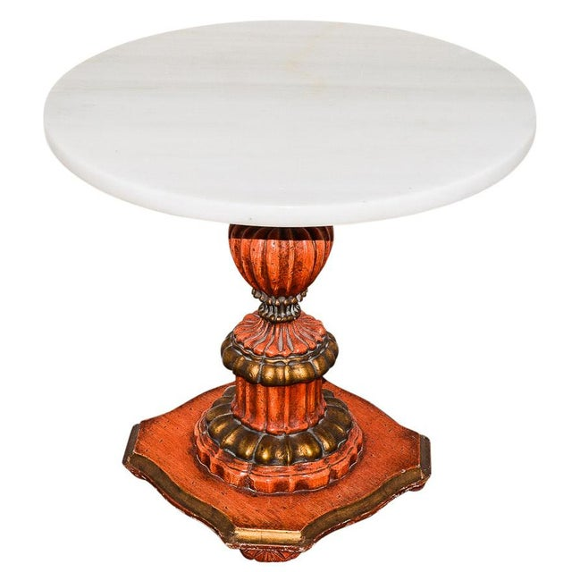 John Widdicomb Style Italian Regency Marble Top Carved Wood Pedestal Table For Sale In Palm Springs - Image 6 of 6