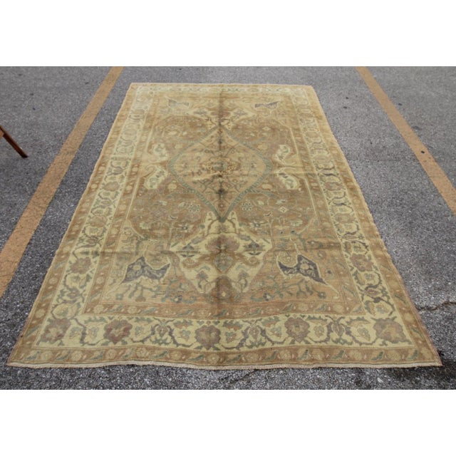 Islamic Vintage Turkish Oushak Hand Knotted Rug - 5'11 x 8'7 For Sale - Image 3 of 5