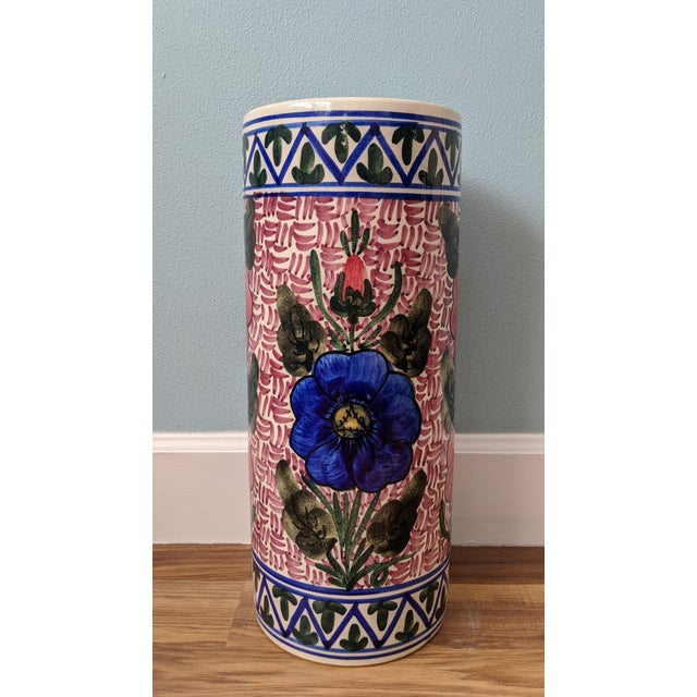 20th Century Floral Blue and Pink Ceramic Umbrella Stand For Sale - Image 4 of 11
