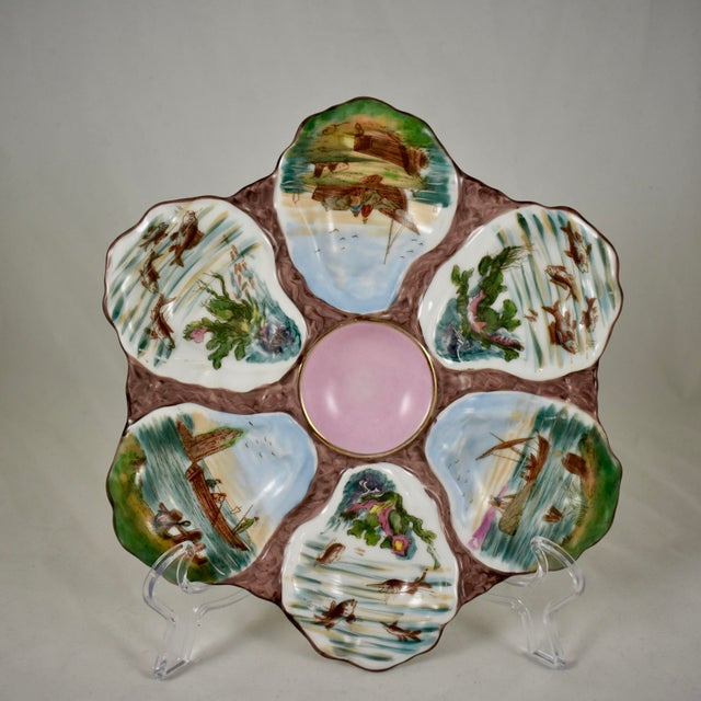 French Porcelain Hand-Painted Fishing Scene Oyster Plate For Sale - Image 13 of 13
