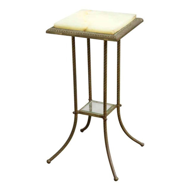 White 20th Century Traditional Marble Top Side Console Table With Small Glass Shelf For Sale - Image 8 of 10