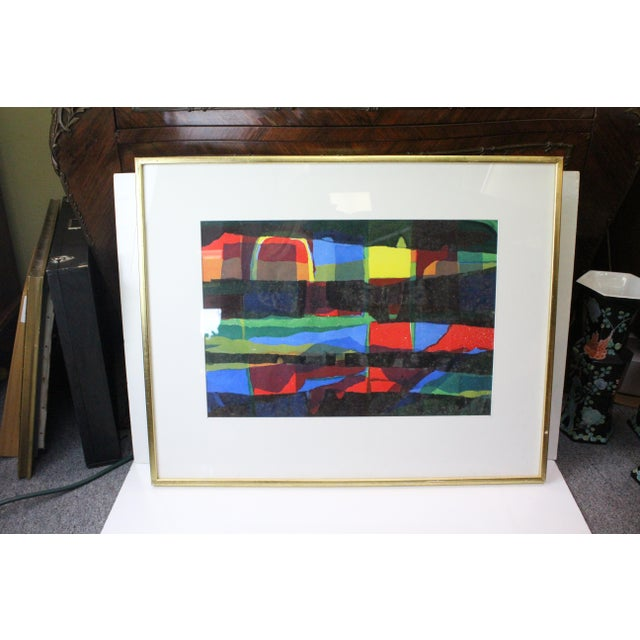 Mid 20th Century Abstract Framed Rainbow Print For Sale - Image 5 of 8