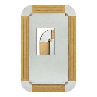 Blond Veneered Wood Wall Mirror With Inset Chrome Strips For Sale