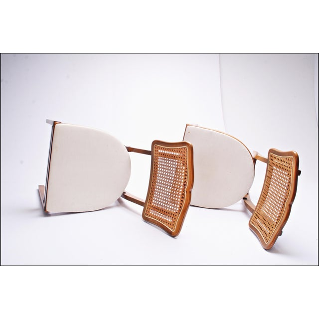 Metal Mid Century Modern Stakmore White Vinyl Wood Folding Chairs - A Pair For Sale - Image 7 of 11
