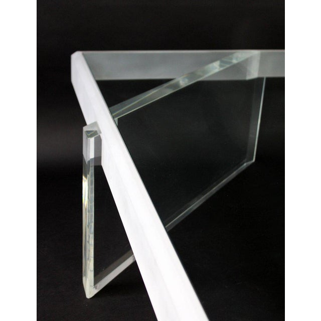 Glass Mid-Century Modern Large Lucite Glass Coffee Table For Sale - Image 7 of 9