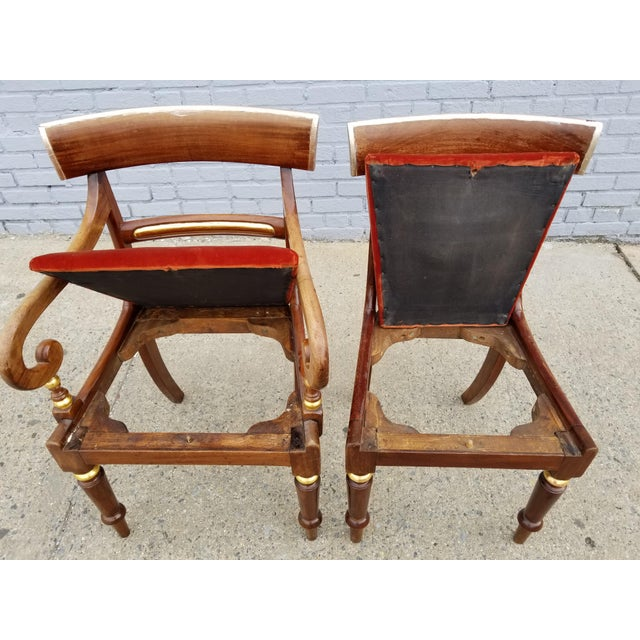 Antique Neoclassical Mahogany Gilt Side Chairs - a Pair For Sale - Image 10 of 11