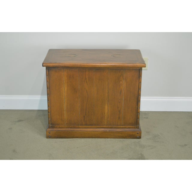 Romweber Viking Oak Bookcase 2 Drawer Side Table With Brass Inlaid Horseshoes For Sale In Philadelphia - Image 6 of 13