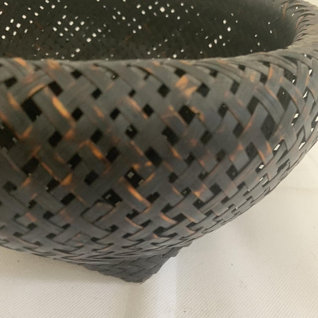 Black Antique Japanese Woven Ikebana Basket For Sale - Image 8 of 12