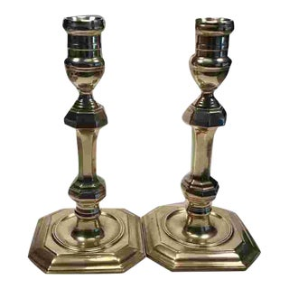 Mid C. English Brass Candlesticks For Sale