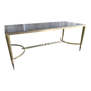 20th Century Art Noveau Brass Frame Coffee Table For Sale
