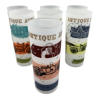 1950s Frosted Anchor Hocking's Antique Autos Tumblers - Set of 7 For Sale