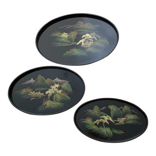 Vintage Japanese Black Lacquer Painted Nesting Trays Oval - Set of 3 Pieces For Sale