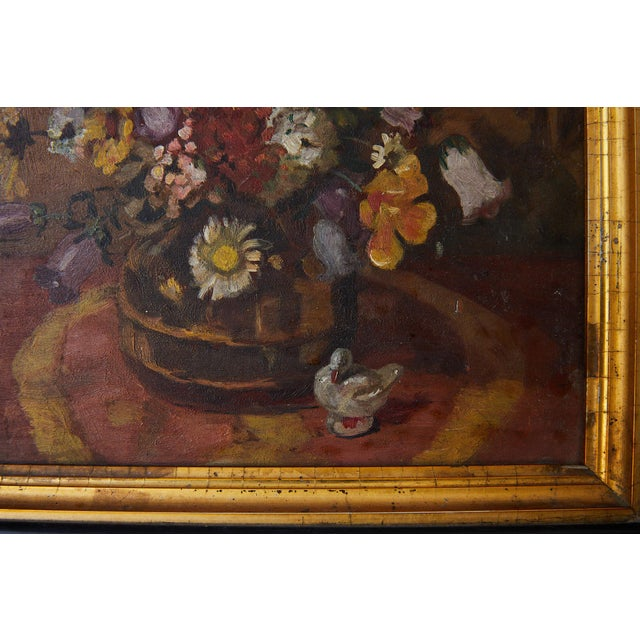 Impressionistic Still Life of Wildflowers and Duck Figurine For Sale In Atlanta - Image 6 of 12