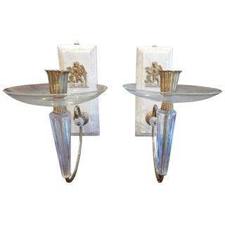 1930s Art Deco Wall Sconces - a Pair For Sale
