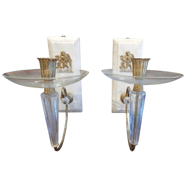 Pair of Art Deco Wall Sconces For Sale