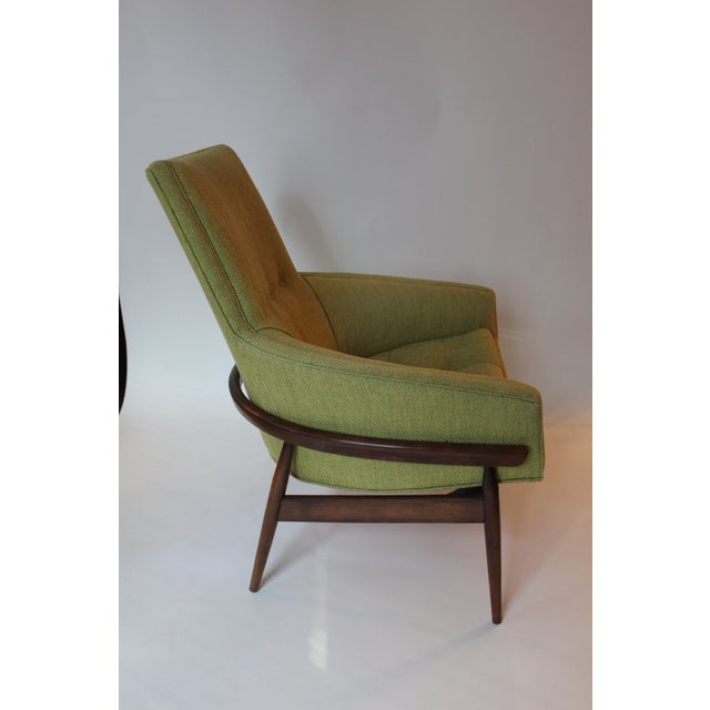 Great mid-century side chair with an exposed walnut frame. Newly reupholstered in chartreuse boucle. Very stylish and very...