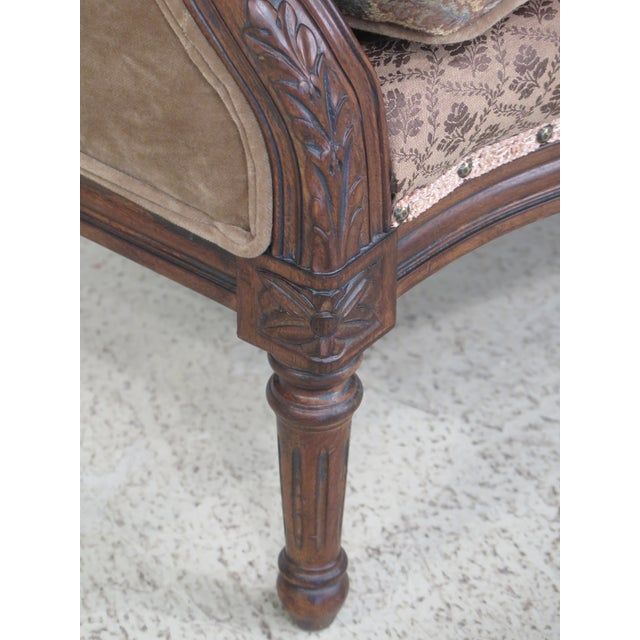 French Louis XV Style Loveseat with Ottoman - A Pair For Sale - Image 5 of 13