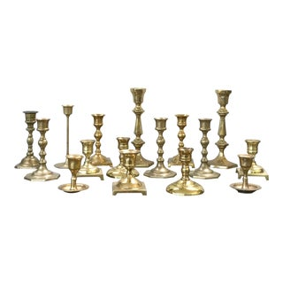 Vintage Brass Candlestick Holders - Set of 16 For Sale