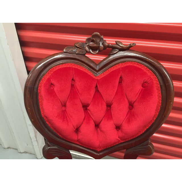 Vintage Red Heart Back Chair For Sale - Image 5 of 5