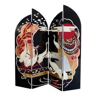 Art Deco Style 4-Panel Folding Lacquered Screen For Sale