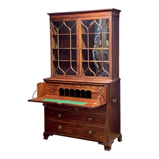 Early 19th Century English Secretary Bureau Bookcase of Mahogany From the Georgian Era For Sale