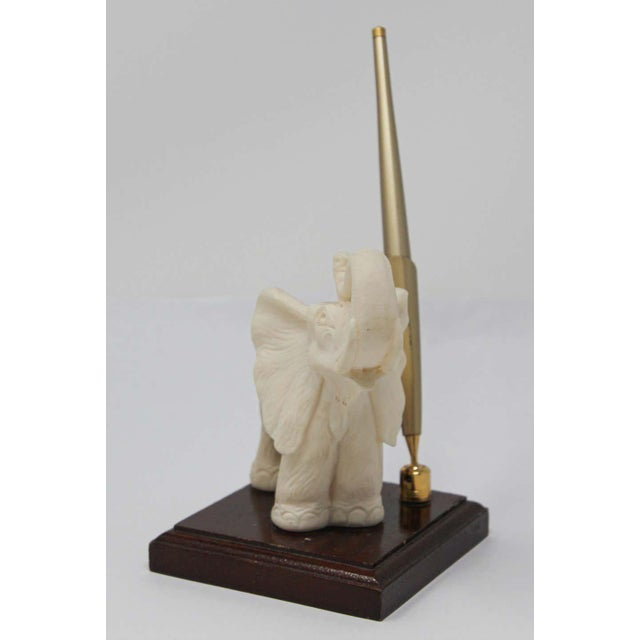 Metal Vintage White Elephant Sculpture Pen Holder For Sale - Image 7 of 13