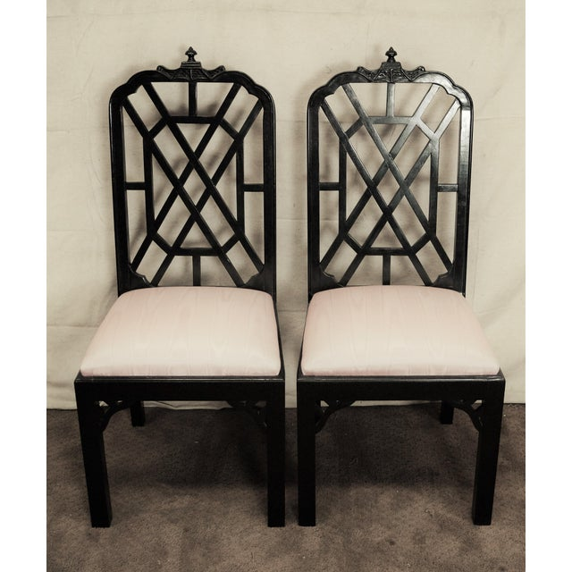 Chinoiserie Hollywood Regency Chinoiserie Pagoda Dining Chairs - Set of 6 For Sale - Image 3 of 5