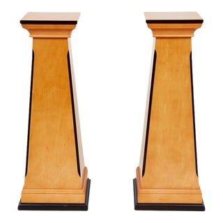 Neoclassical Maple and Mahogany Pedestals - a Pair For Sale
