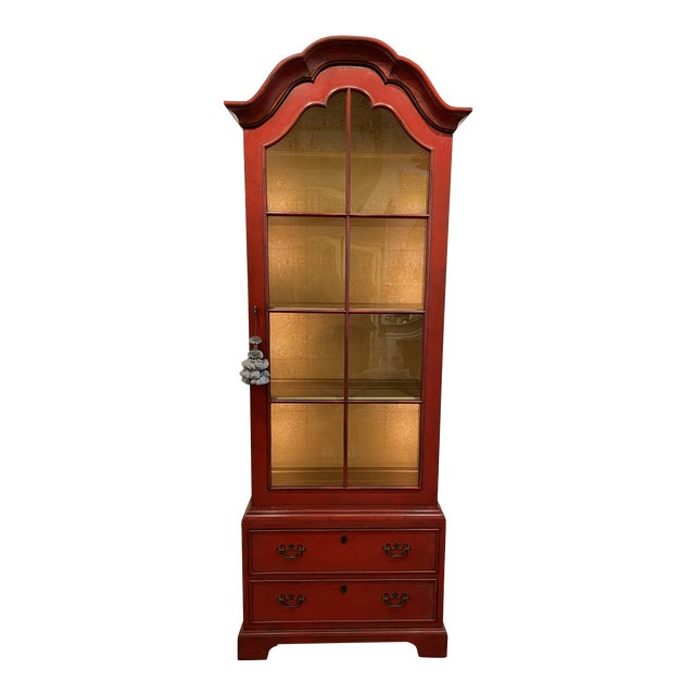 Vintage Asian Style Red Curio Cabinet For Sale