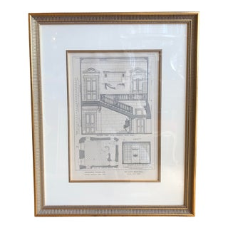 Antique 18th C Neoclassical French Staircase Architectural Engraving For Sale