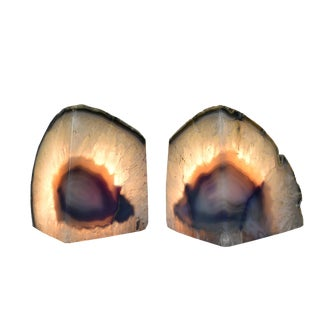 Natural Agate Geode Solid Stone Candle Holders Bookends- - a Pair For Sale