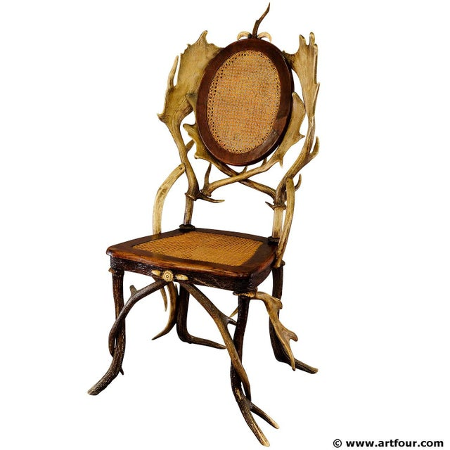 Antique Cabin Decor Antler Parlor Chair Ca. 1900 For Sale - Image 6 of 6