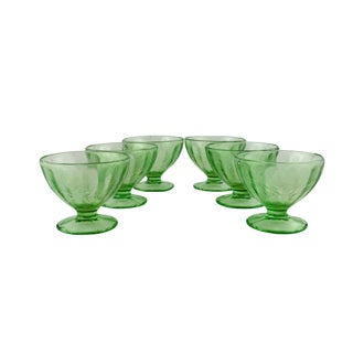 1930s Jeannette Floral Poinsettia Dessert Bowls - Set of 6 For Sale