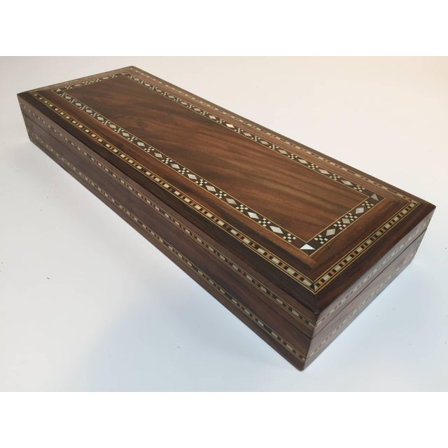 Mid Century Large Decorative Syrian Box Inlay With Mother-Of-Pearl For Sale - Image 10 of 10