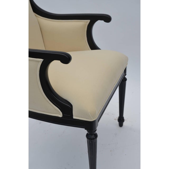 Pair of Chic Black Lacquer and Cream Velvet Armchairs by William Haines For Sale In Los Angeles - Image 6 of 8