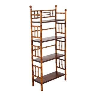 Antique French Burnt Bamboo Hollywood Regency Bookcase or Plant Stand For Sale