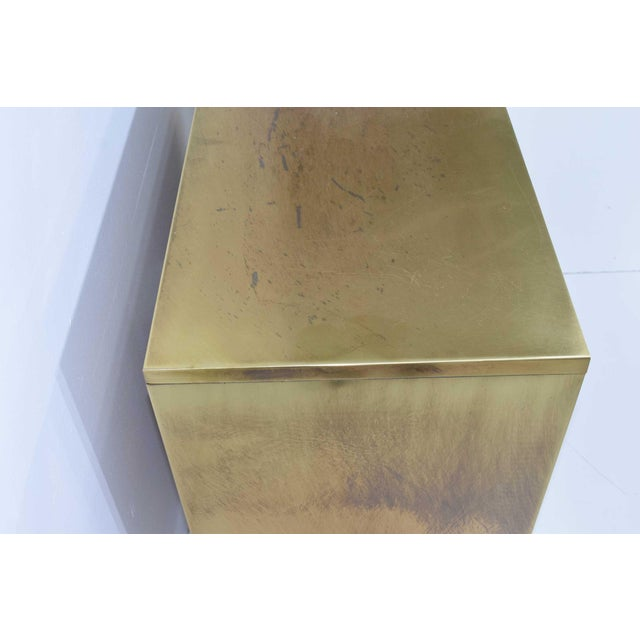 "Asian Mastercraft ""Four Dynasty's"" Brass Veneer Commode Nightstands Chests - a Pair For Sale - Image 3 of 13"