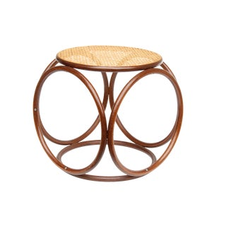 Thonet Style Bentwood & Cane Stool For Sale