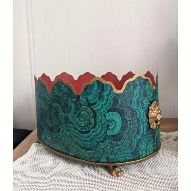 Regency Style Faux Malachite Tole Planter Box - Vintage For Sale - Image 12 of 13
