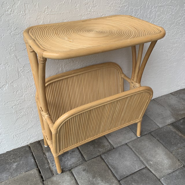 1970s Rattan Split Reed Magazine Rack Side Table For Sale - Image 12 of 12