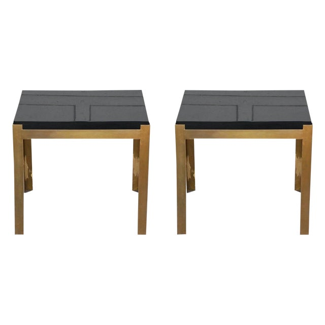 Contemporary Design Frères 'Caisson' Lacquer and Patinated Brass Side Tables - a Pair For Sale