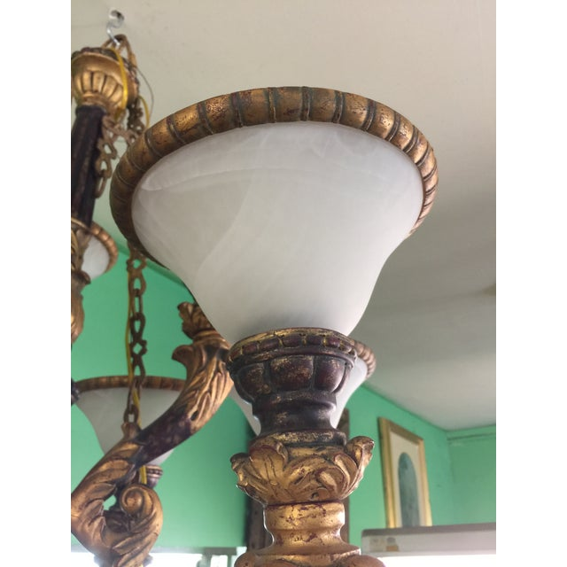 Italian Baroque Chandelier With Alabaster Shades For Sale - Image 5 of 11